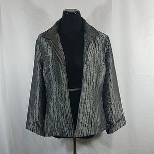 Chico's Gray Metallic Open Front Crinkle Blazer